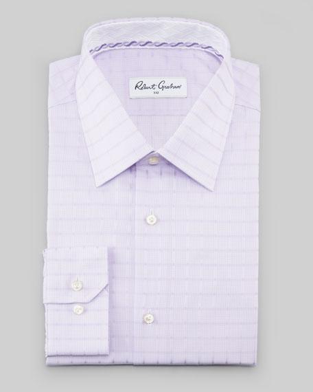 Manuel Box-Check Dress Shirt, Lavender