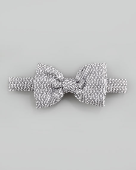 Grenadine Textured Silk Bow Tie, Silver