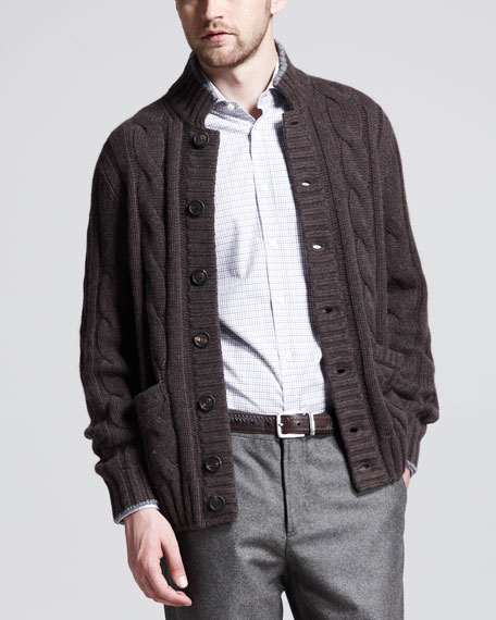 Cable-Knit Button-Down Cardigan