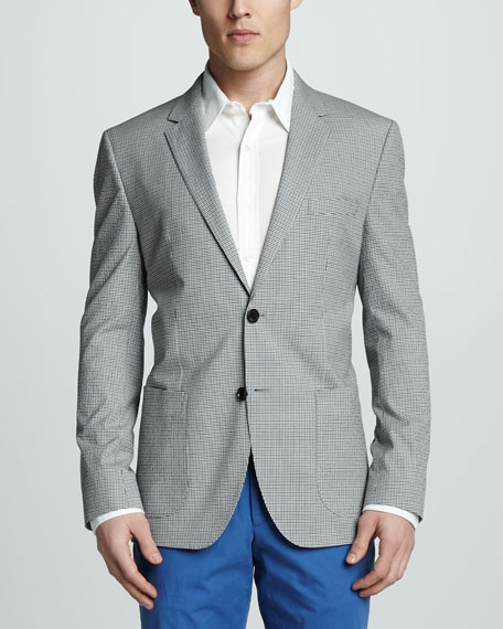 Check Cotton Blazer, Blue