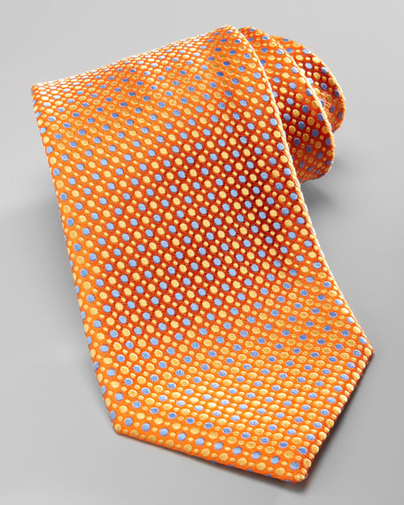 Multi-Dot Silk Tie, Orange/Blue