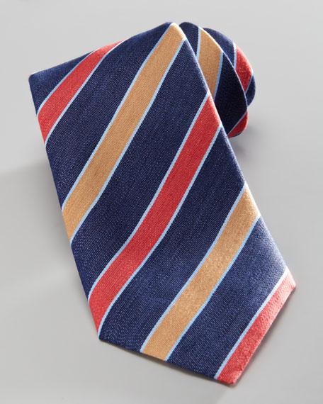 Diagonal-Stripe Silk Tie, Navy/Red