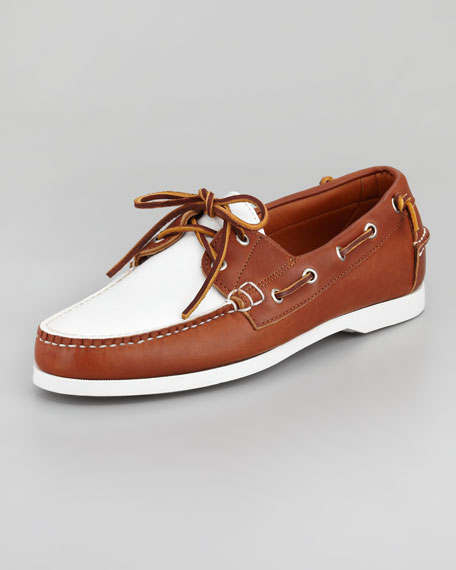 Telford Two-Tone Boat Shoe, Tan/White