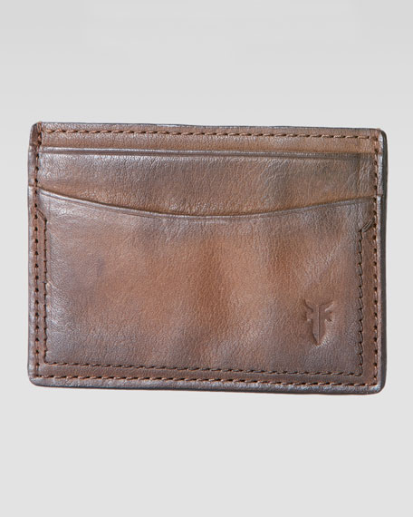 Frye James Leather Card Case, Taupe