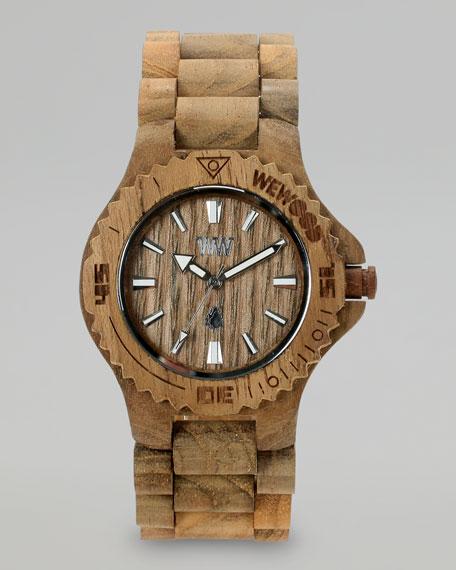 Date Teak Wooden Watch