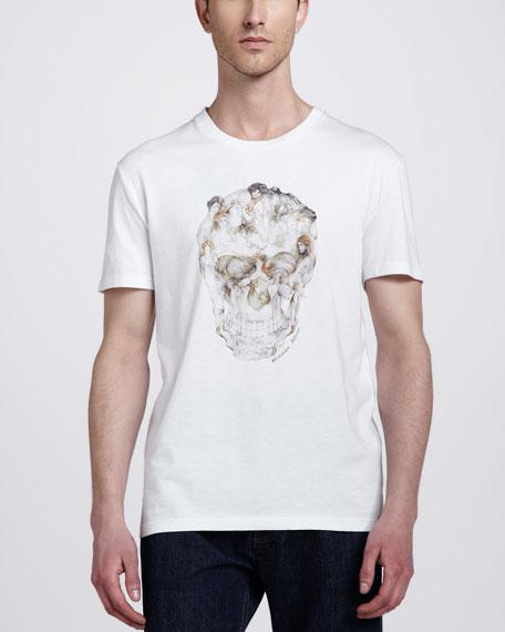 Skull Print Tee, White