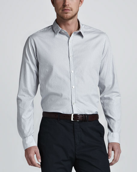 Zack Striped Sport Shirt, Blue