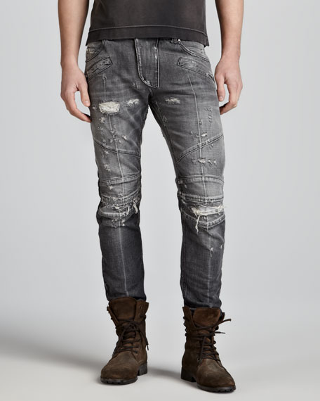 Distressed Biker Jeans, Gray
