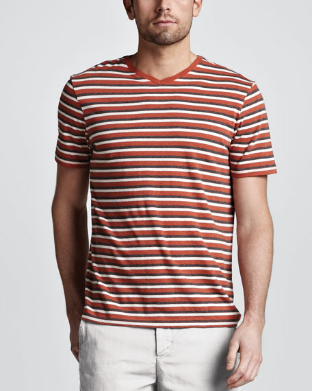 Striped V-Neck Tee, Orange