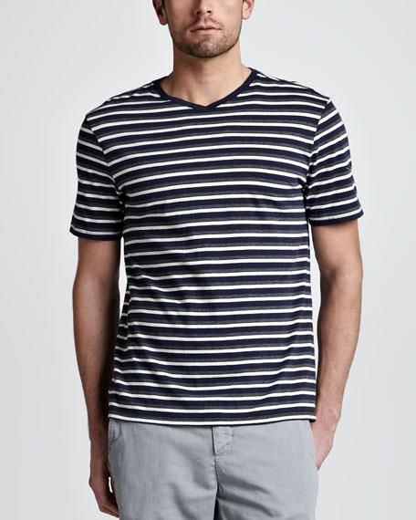 Striped V-Neck Tee, Navy