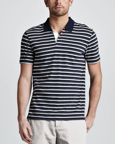 Striped V-Neck Tee, Coastal