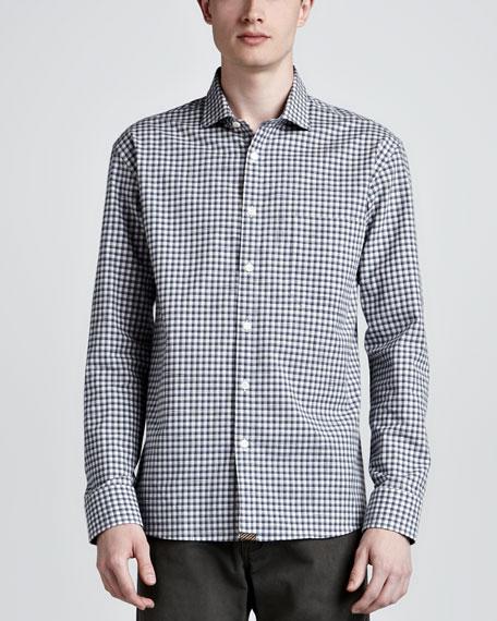 John T Plaid Sport Shirt, Blue/Gray