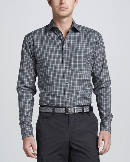 Long-Sleeve Check Sport Shirt, Gray