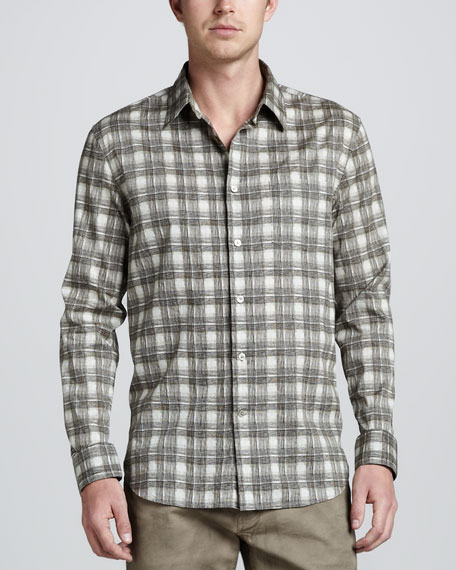 Check-Print Long-Sleeve Shirt, Khaki