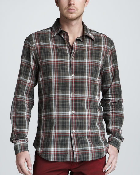 Plaid Long-Sleeve Shirt, Red