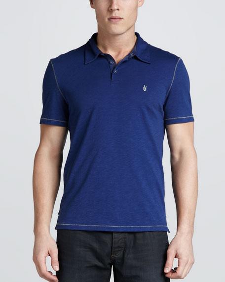 Short-Sleeve Peace-Sign Polo, Blue