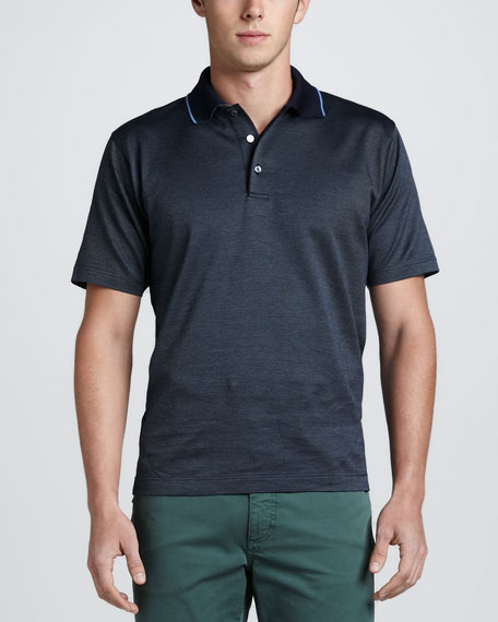 Diagonal-Textured Short-Sleeve Polo, Navy/Blue/Sage
