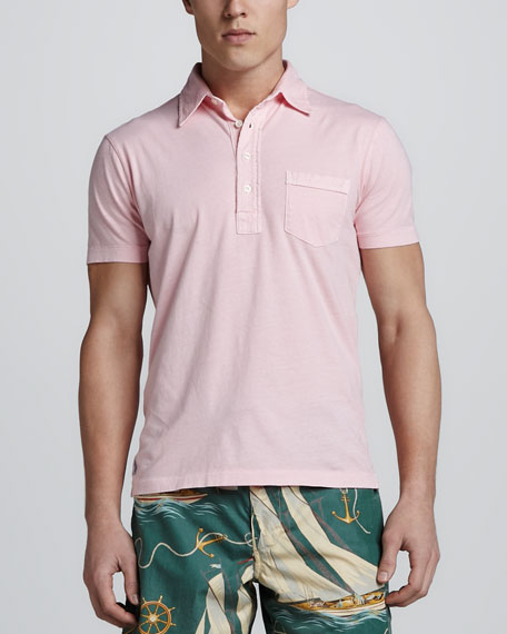 Short Sleeve Pocket Jersey Polo, Pink