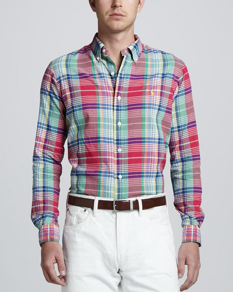 Long-Sleeve Plaid Sport Shirt, Royal Pink
