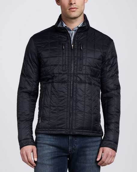 Quilted Reversible Nylon Jacket, Black/Gray