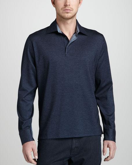 Long-Sleeve Pique Polo