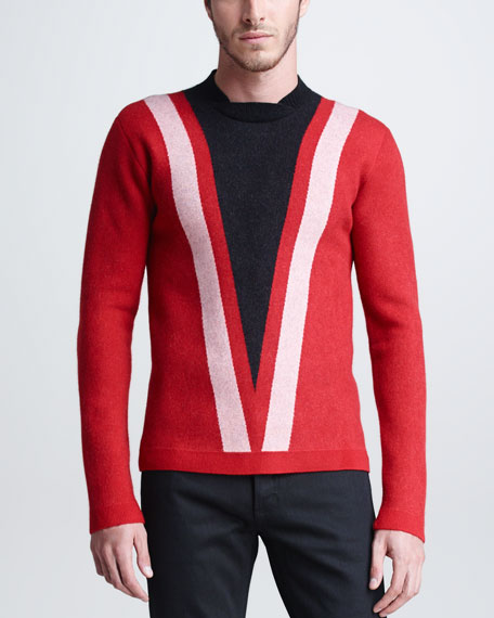 V-Graphic Sweater, Red/Black/White