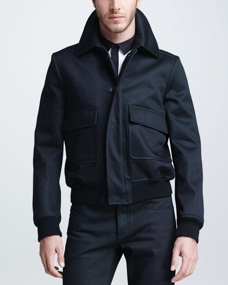 Cashmere-Blend Bomber Jacket, Black