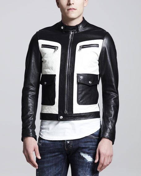 Two-Tone Leather Biker Jacket, Black/White