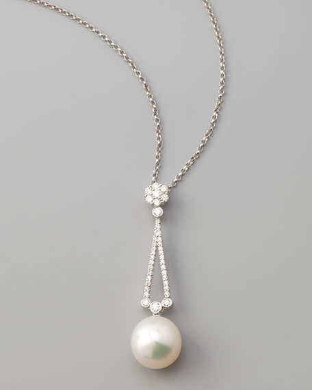 South Sea Pearl & Diamond Drop Necklace