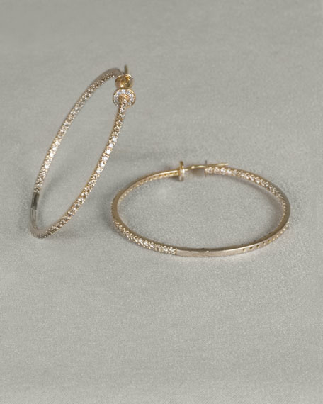 Champagne Diamond Hoop Earrings