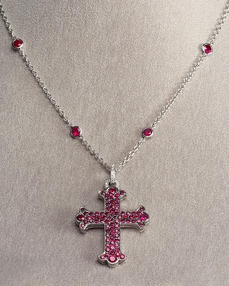 Ruby Cross & Chain Necklace, Large