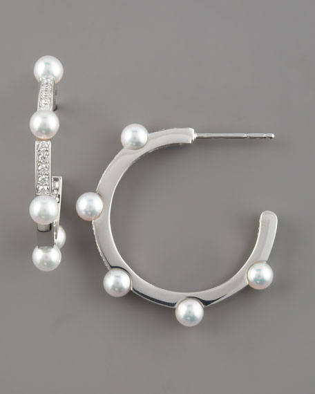 Akoya Pearl Hoop Earrings