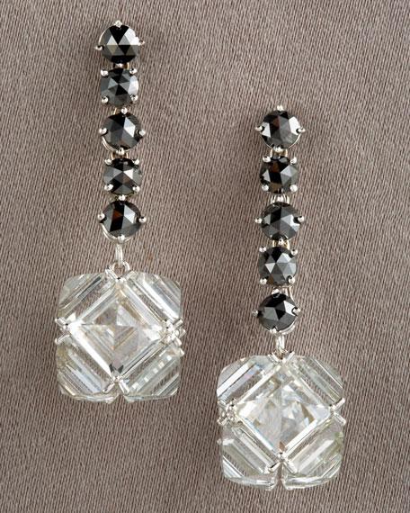 Black Diamond & White Topaz Earrings