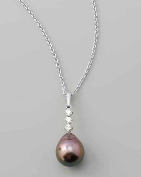 Three-Diamond Tahitian Drop Necklace