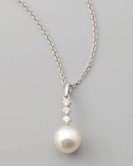 Three-Diamond South Sea Drop Necklace