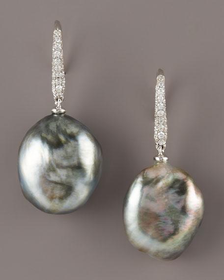 Diamond & Pearl Earrings, Black