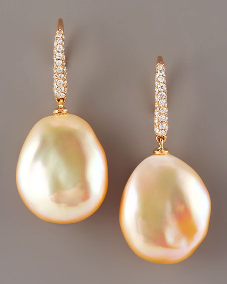 Diamond & Pearl Earrings, Peach