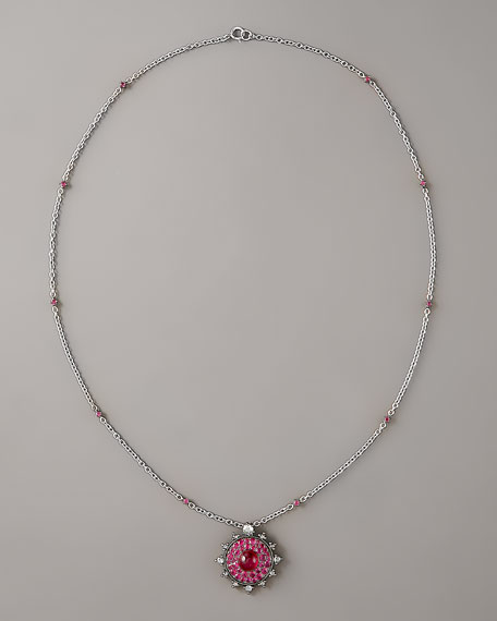 Ruby Bull's Eye Pendant Necklace