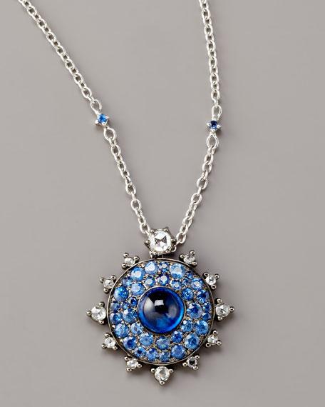 Bull's Eye Diamond & Sapphire Pendant Necklace