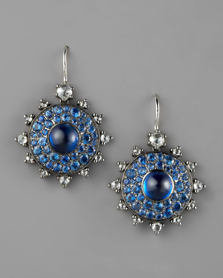 Bull's Eye Diamond & Sapphire Earrings