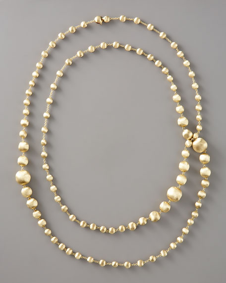 "Long Gold-Bead Necklace, 47 1/2""L"