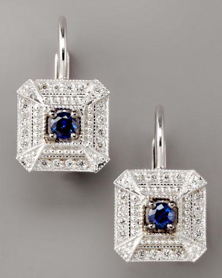 Diamond & Sapphire Square Drop Earrings