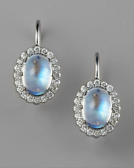Pave Diamond & Moonstone Earrings