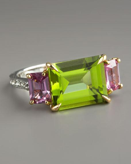 Peridot & Pink Sapphire Ring