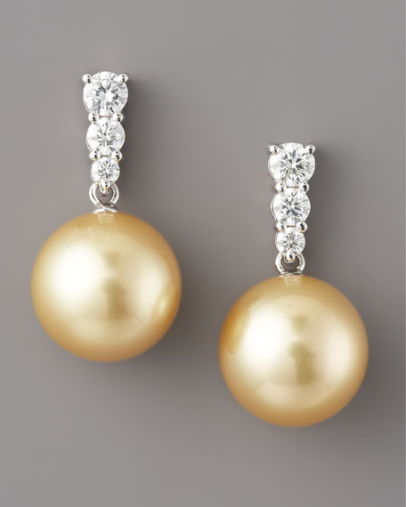 Champagne Pearl & Diamond Drop Earrings