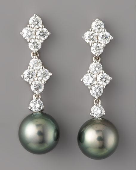 Diamond & Black Pearl Drop Earrings