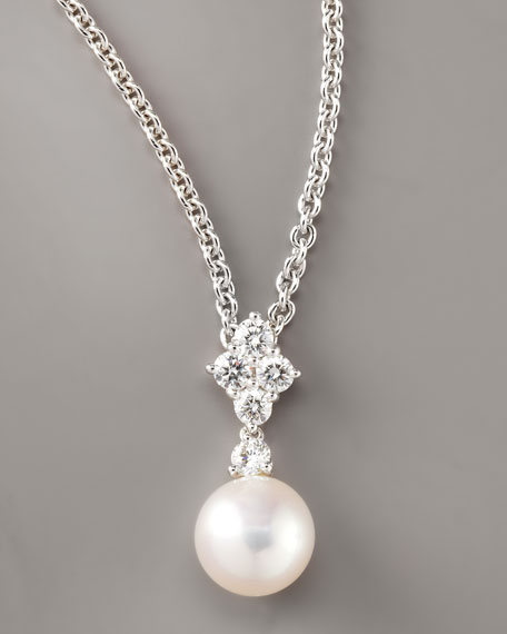 Diamond-Pearl Pendant Necklace