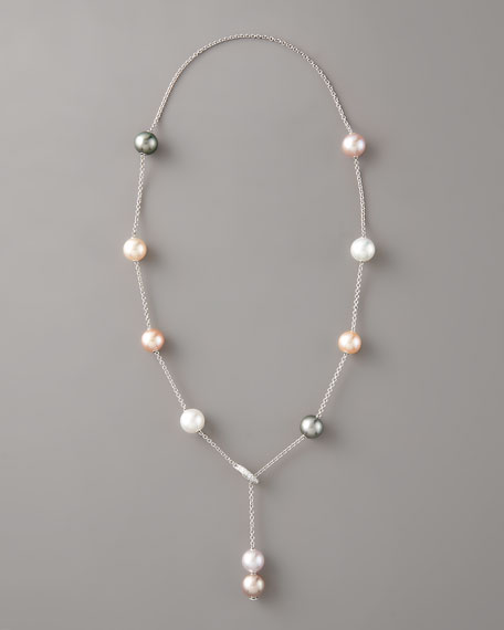 Pearl & Diamond Lariat Necklace