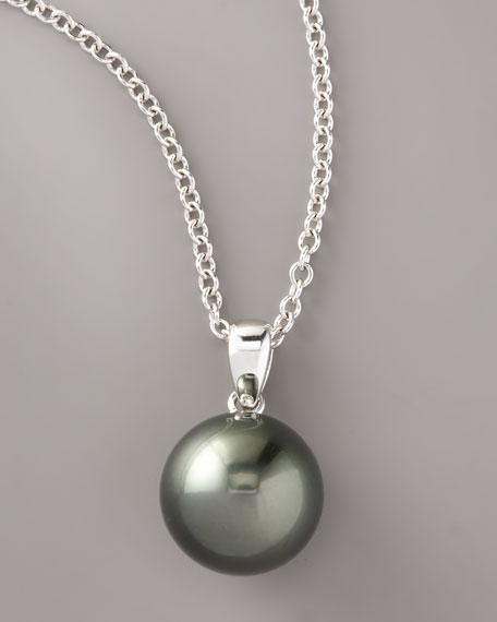 Black Pearl Pendant Necklace, Black