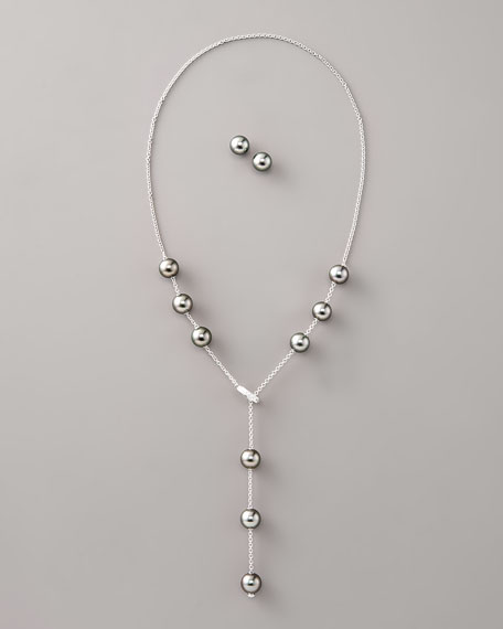 Pearl Necklace & Earring Set, Black